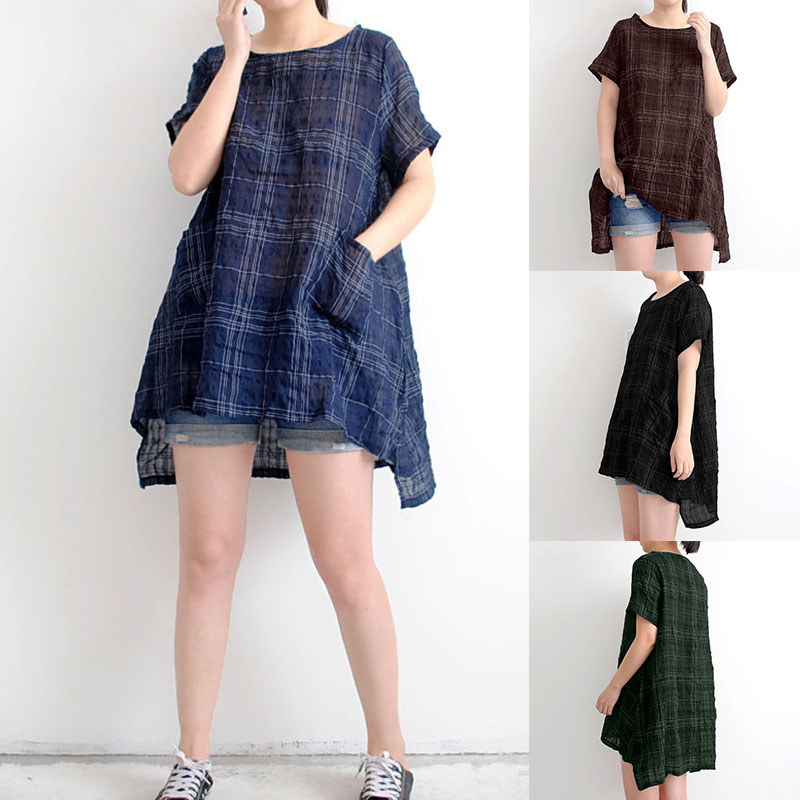 S-5XL Casual Women Plaid Pockets Short Sleeve Shirts