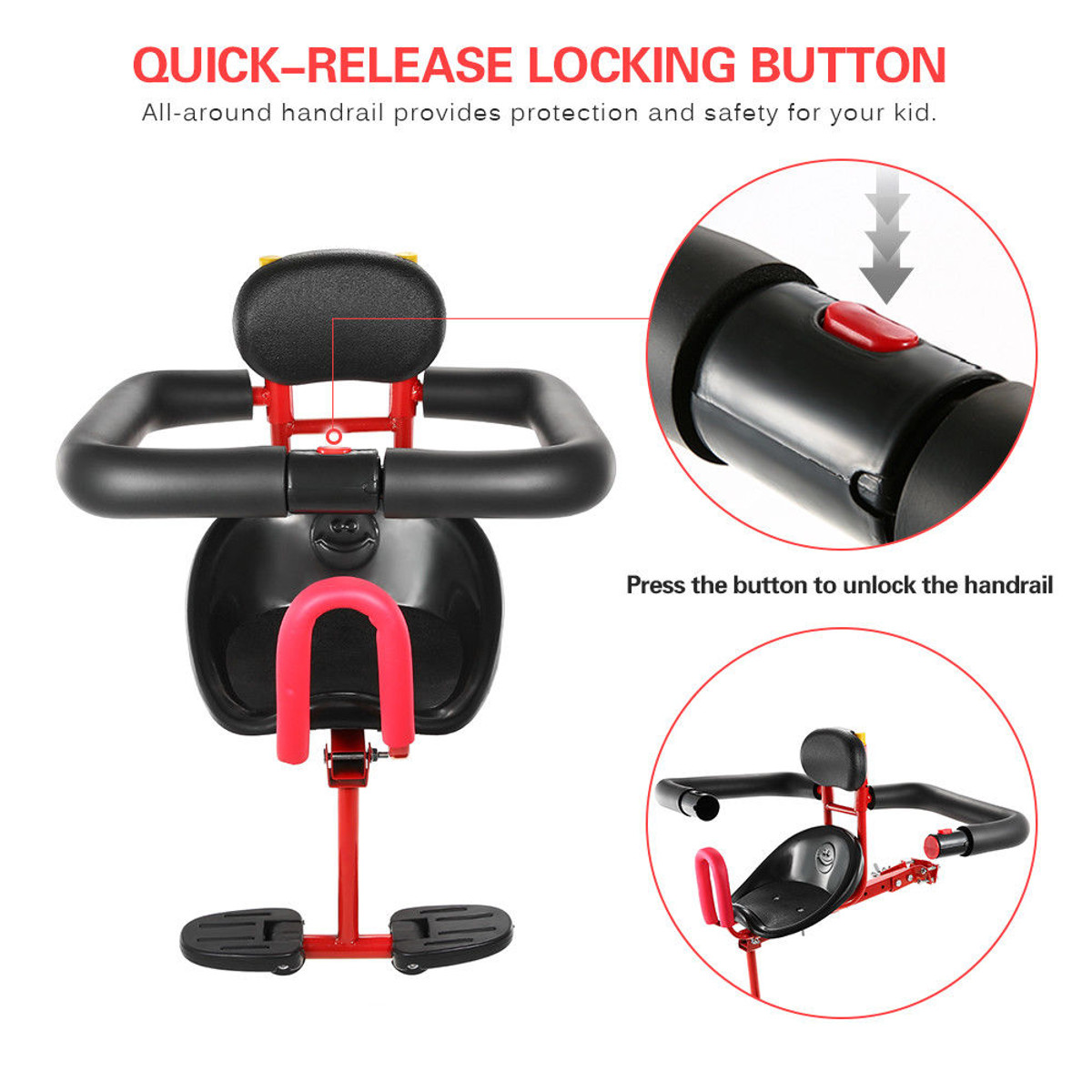 BIKIGHT Bike Kids Rack Mount Seat Protection Safety Quick Release Lock Cycling Children Front Saddle Chair Bike Accessories