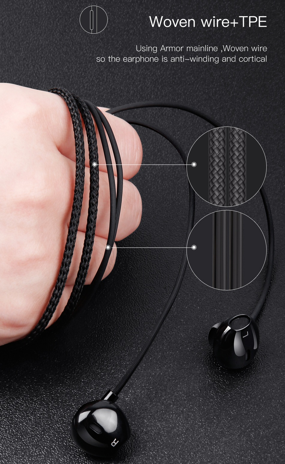 Baseus Encok H06 HiFi Bass Earphone 3.5mm Wired Control Headphone Earbud with Mic for iPhone Xiaomi