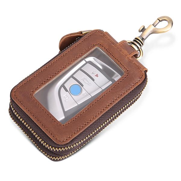 Women Men Double Zipper Large Capacity Waist Car Key Case