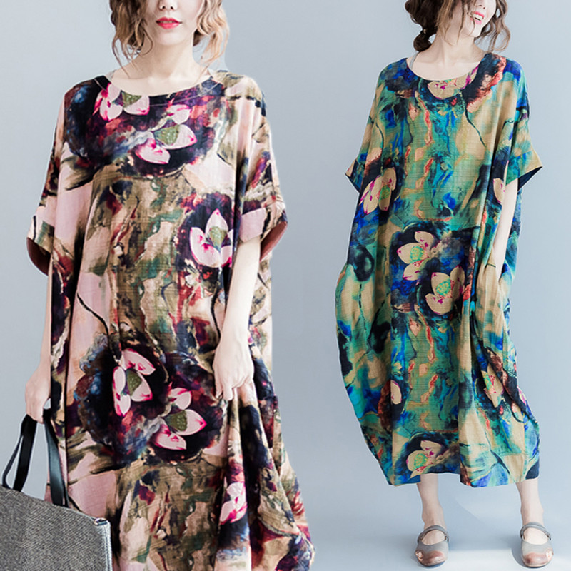 Casual S-5XL Women Loose Lotus Printing Dress