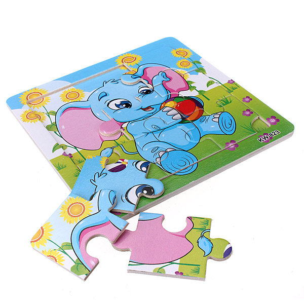9Pcs DIY Wooden Elephant Puzzle Jigsaw Baby Kids Training Toy