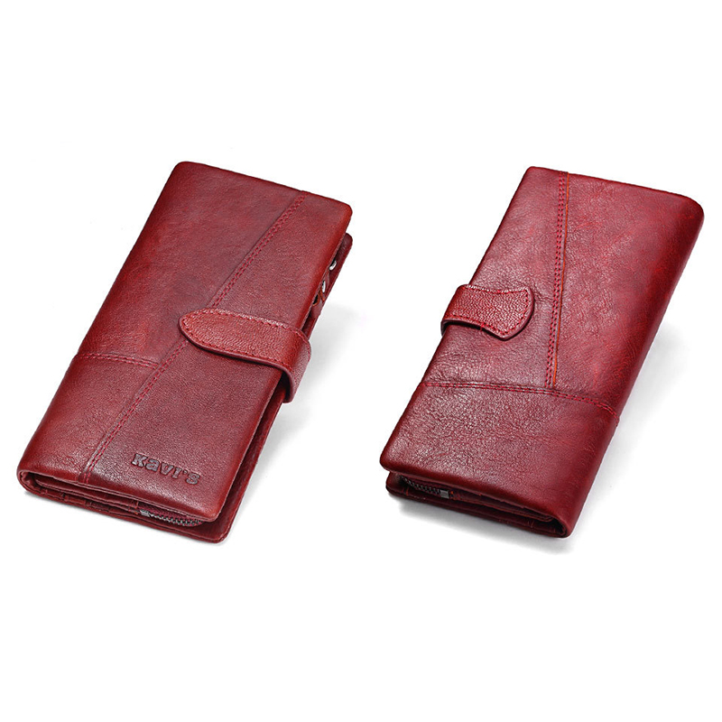 Women Genuine Leather 19 Card Slots Long Wallet Phone Bag