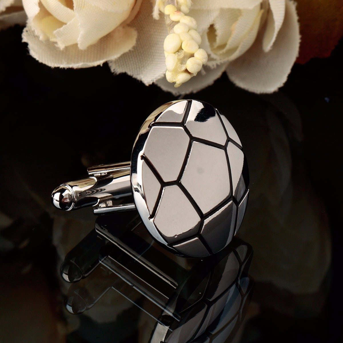 Men Male Silver Soccer Football Pattern Laser Cuff Links Wedding Gift Suit Shirt Accessories
