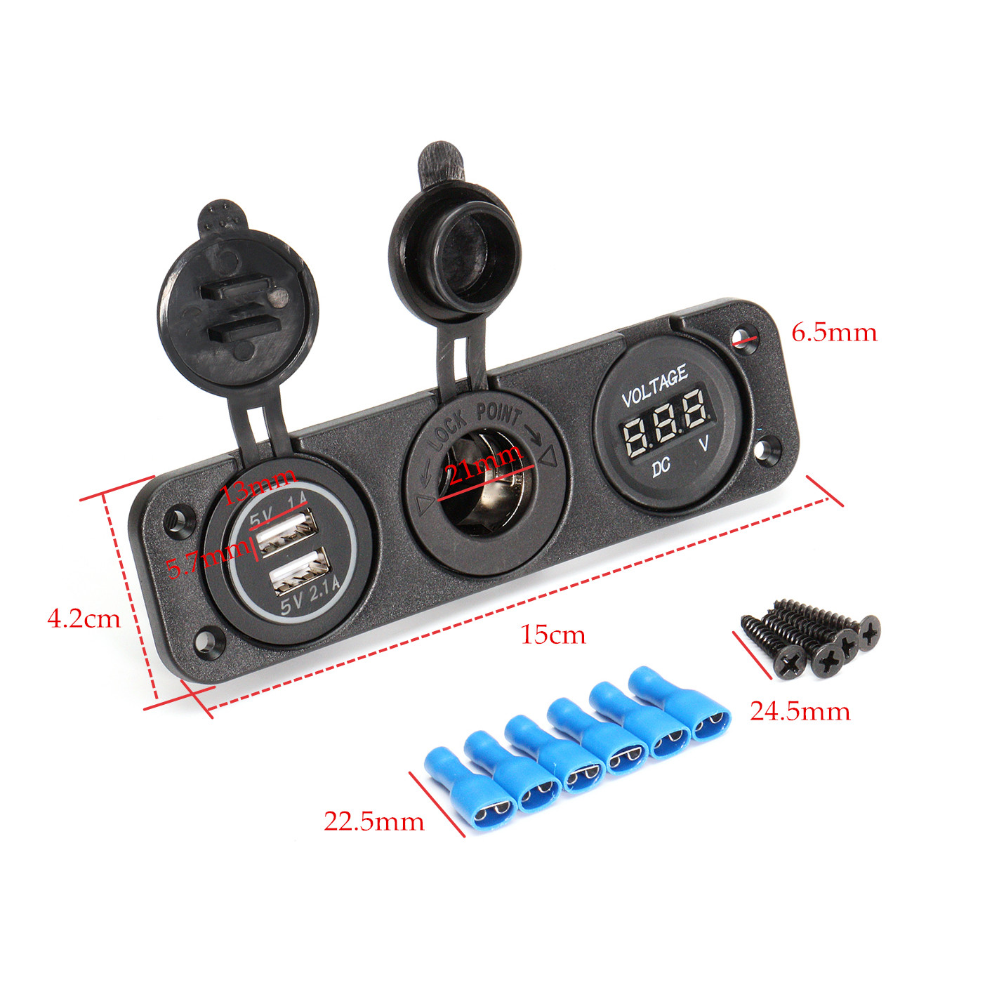 DC 12V Dual Usb Charger Car Cigarette Lighter Socket Lighter Adapter Outlet Volt Meterr