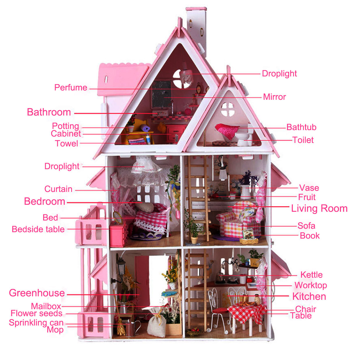 iiecreate DIY Wood Dream Doll House With Light Miniature And Furniture Large Villa