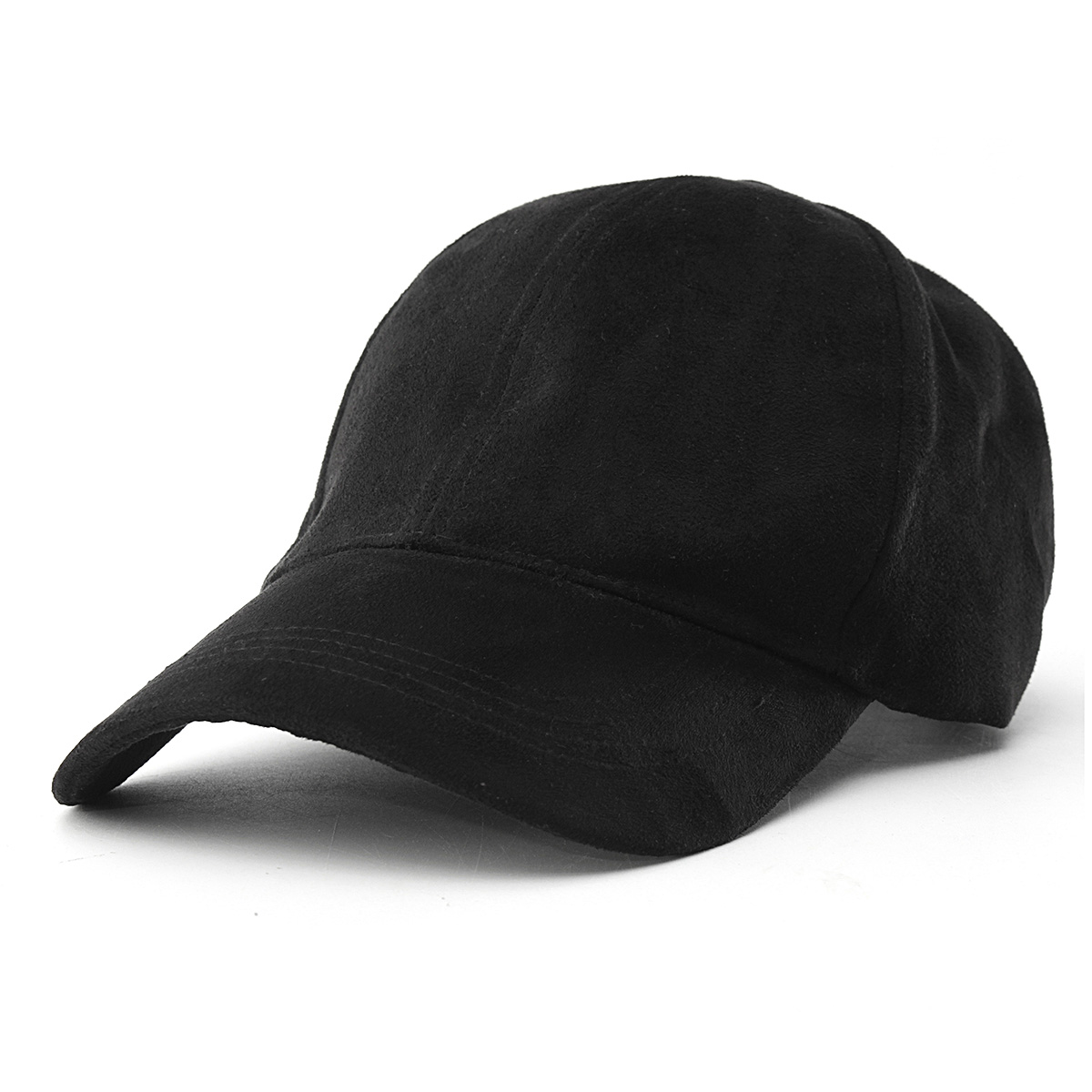 Unisex Faux Leather Suede Fitted Baseball Hat Adjustable Plain Sports Cap Visors