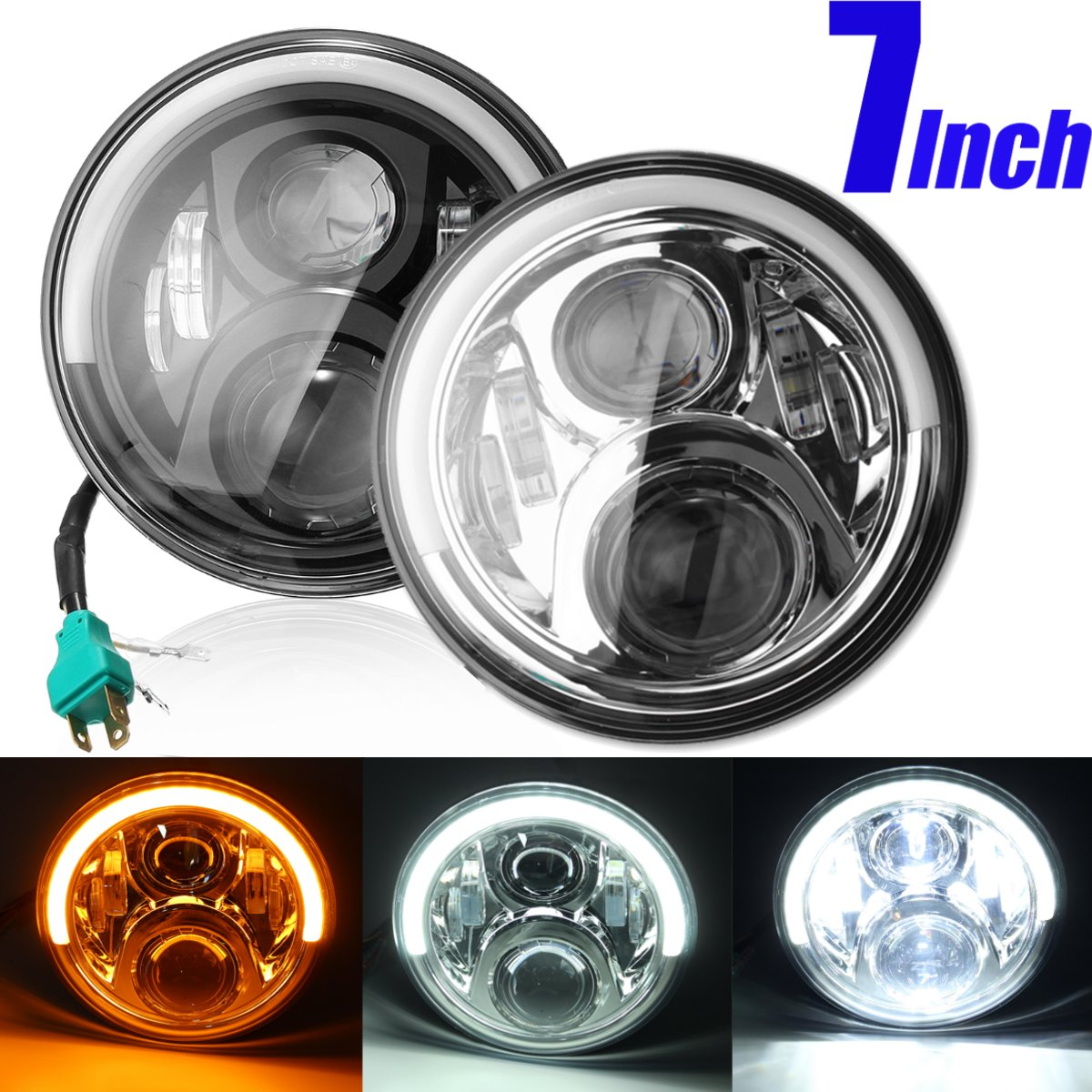 7inch Angel Eyes LED HI/LO Beam DRL Turn Signal Headlight For Harley Davidson/Jeep Cherokee