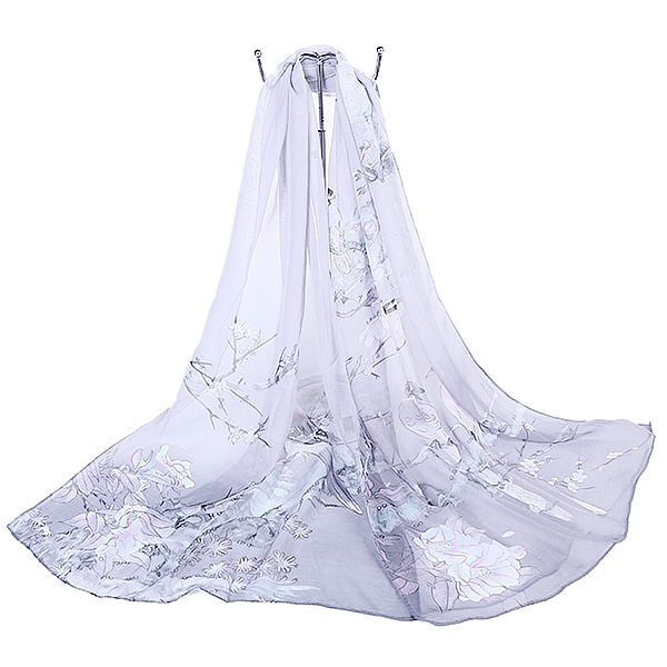 Women Chiffon Printing Beach Scarf Shawl Oversize Outdoor Sunscreen Scarves
