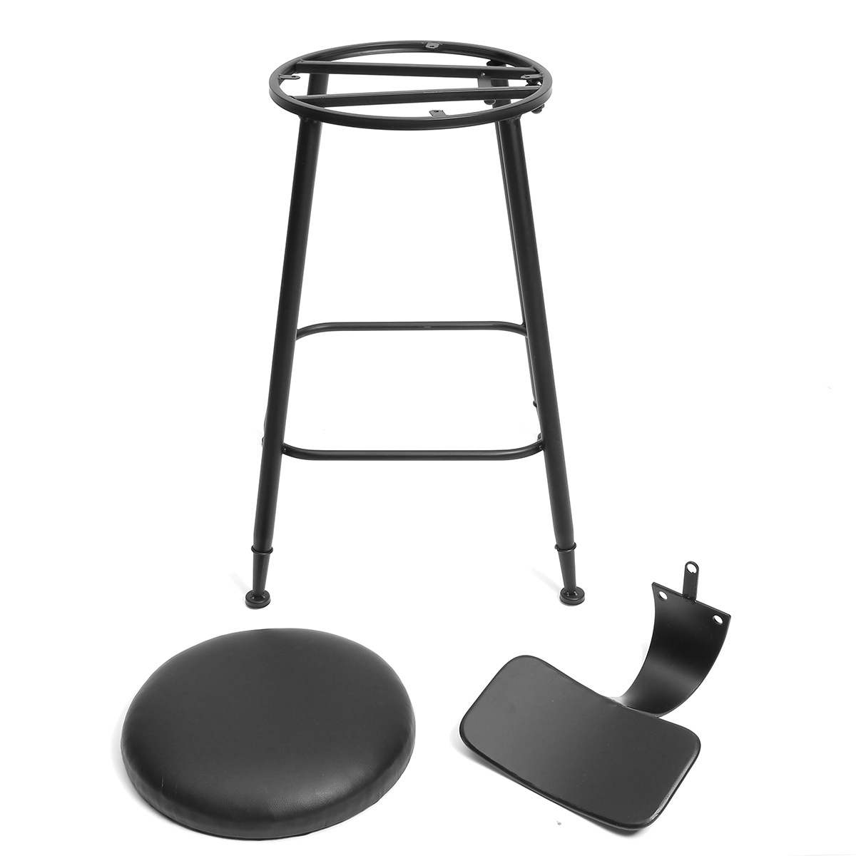 75/65/45cm Industrial Rustic Retro Metal Bar Stool Leather Back Counter Chair Decorations