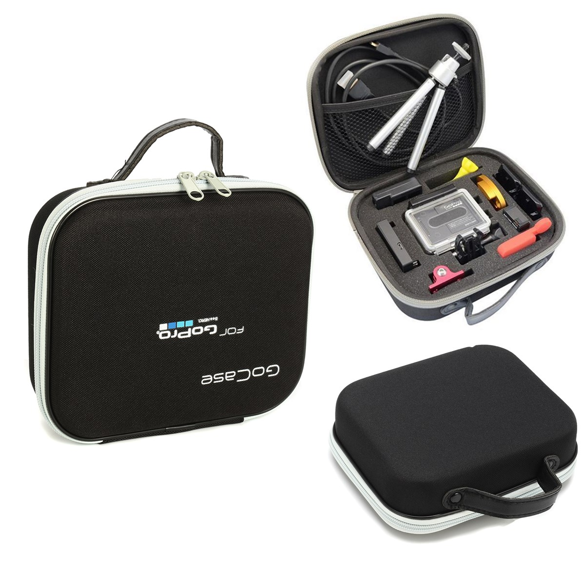 Black Waterproof Portable Compact Collection Box Storage Travel Carry Bag Case For Gopro Hero 5 4 3+