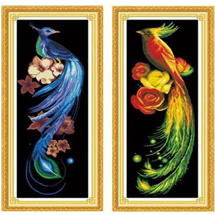34x76cm DIY Cross Stitch Blue Golden Phoenix Printing Embroidery Home Decor Needlework Kit