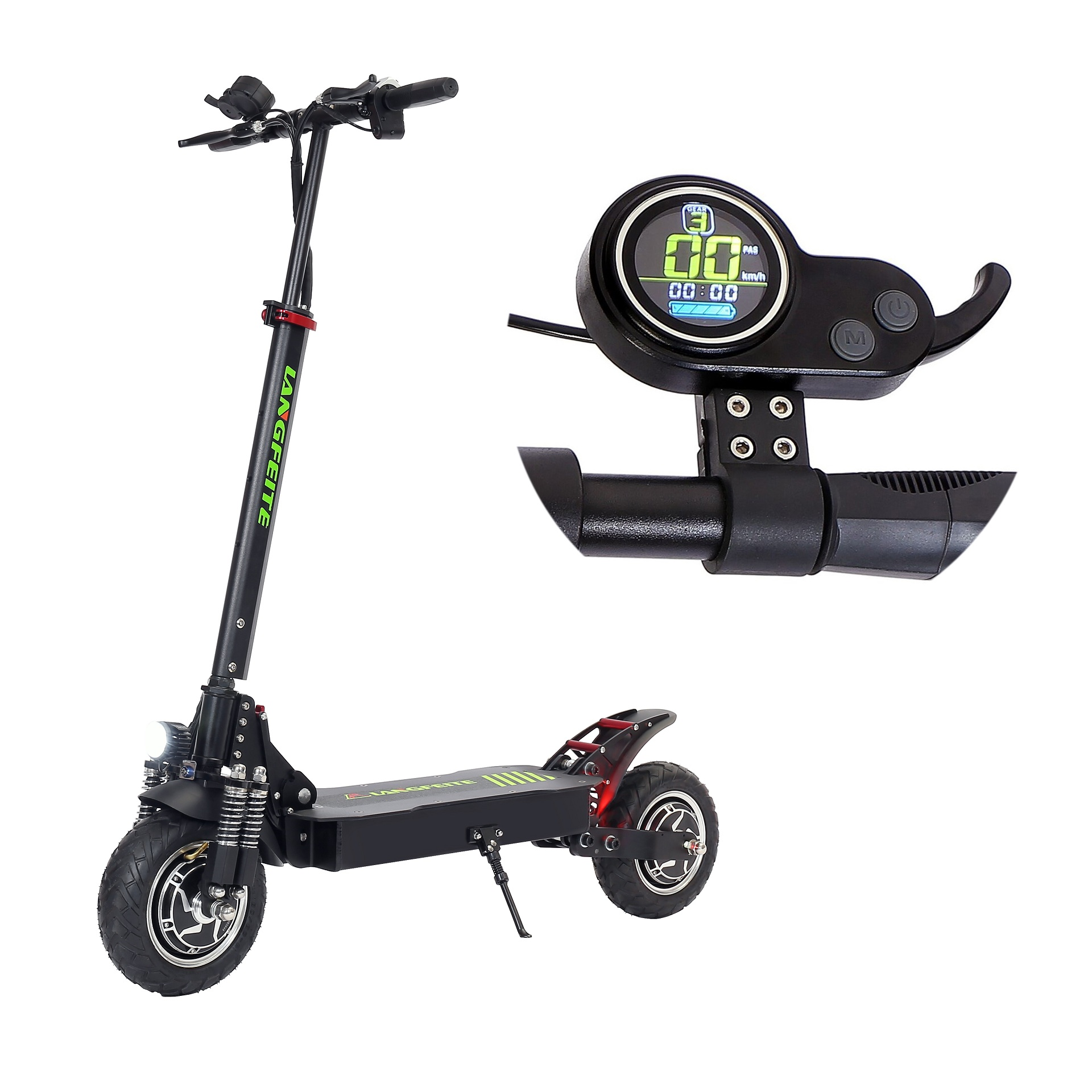LANGFEITE L8S 2019 Version 15Ah 48V 800W*2 Dual Motor Folding Electric Scooter Color Display DC Brushless Motor 45km/h Top Speed 40km Range EU Plug
