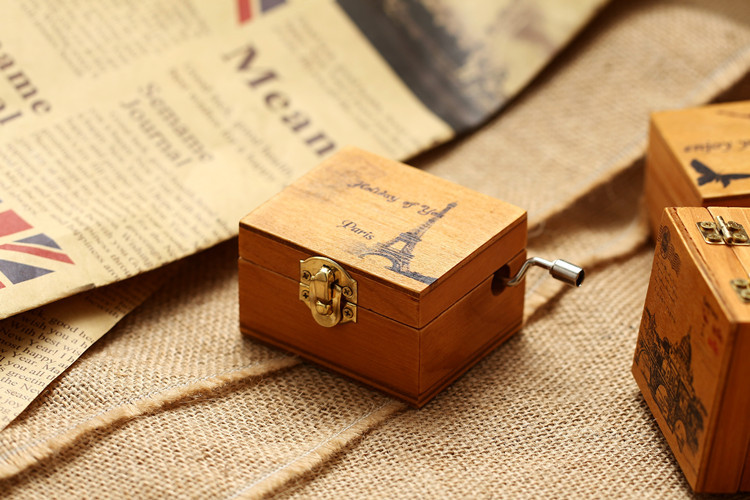 Retro Wooden Wind Up Music Box Castle In The Sky