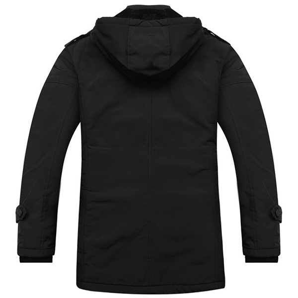 Winter Thick Fleece Warm Black Hooded Zipper Jackets for Men