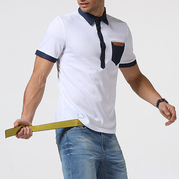 Fashion Personality Denim Patchwork Pocket T-shirts Mens Lapel Collar Short Sleeve T-shirt
