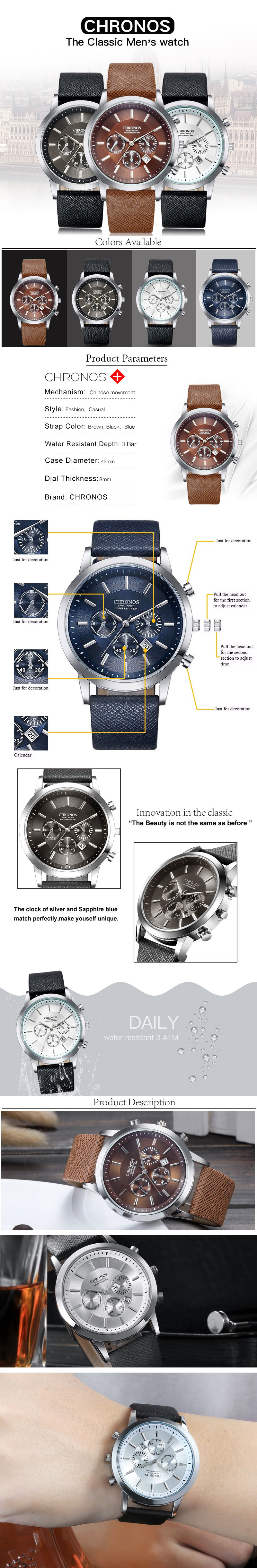 CHRONOS Casual Style Calendar False Small Dials Quartz Watch