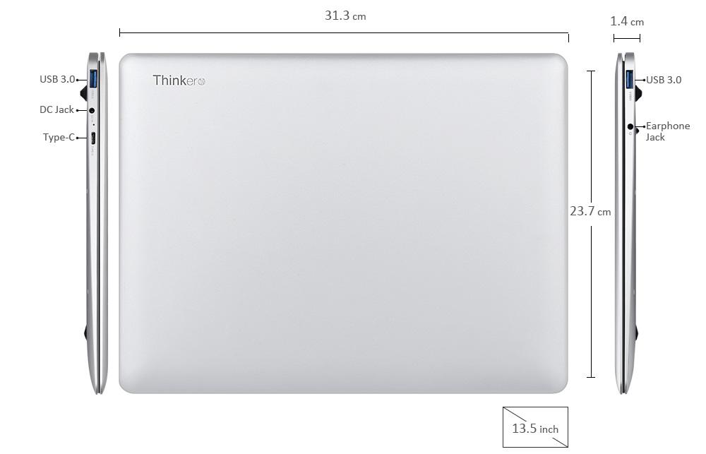 CUBE Thinker Notebook 13.5 inch 8G/256G Intel Kabylake 7Y30 1.0GHz Windows 10 Home Fingerprint Sensor Laptop