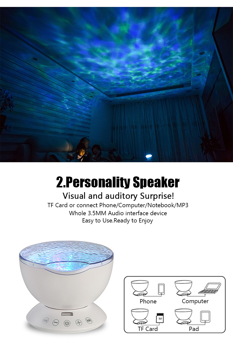 Ocean Wave Starry Sky Aurora LED Night Light Projector Luminaria Novelty Lamp USB Lamp Nightlight Illusion For Baby Children Atmostphere Light