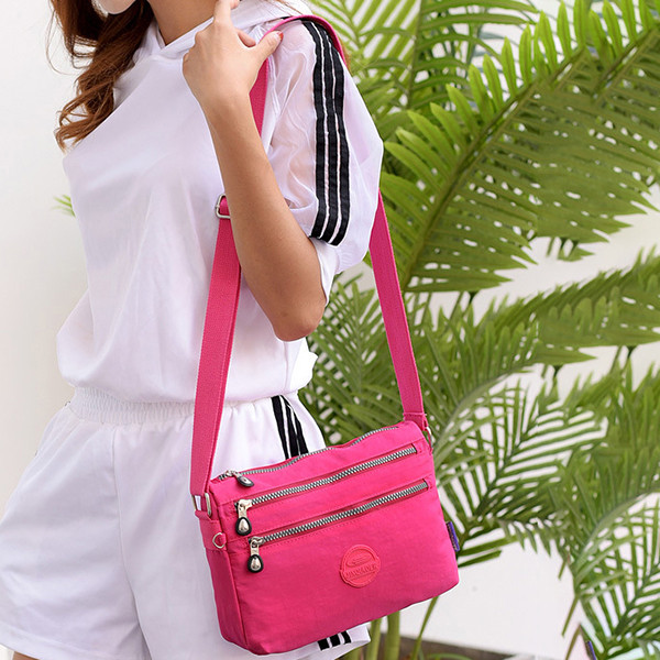 Women Nylon Water Resistant Multi-slot Crossbody Bag