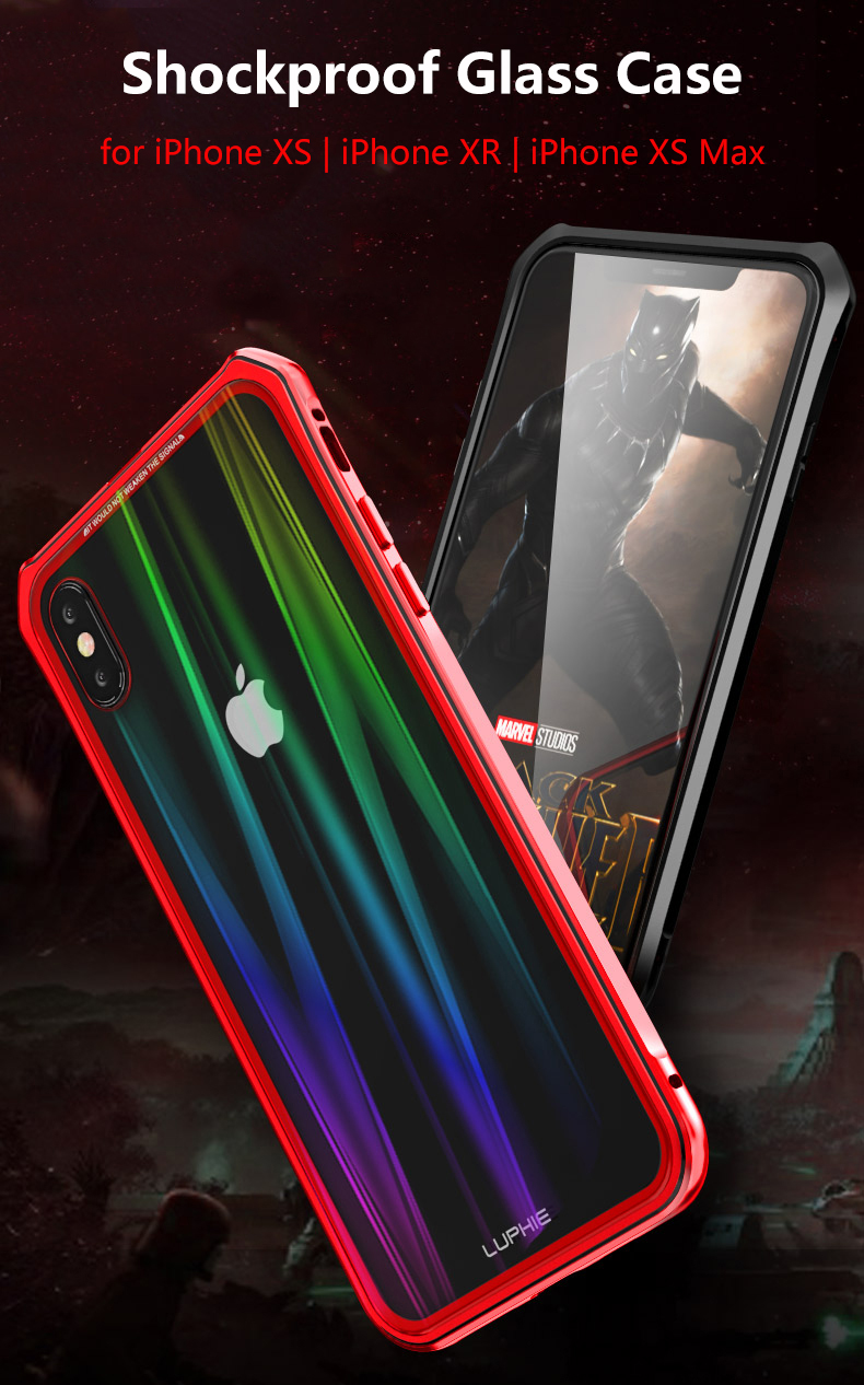 Luphie Protective Case For iPhone XR Gradient Magnetic Adsorption Aluminum Tempered Glass Full Body Case