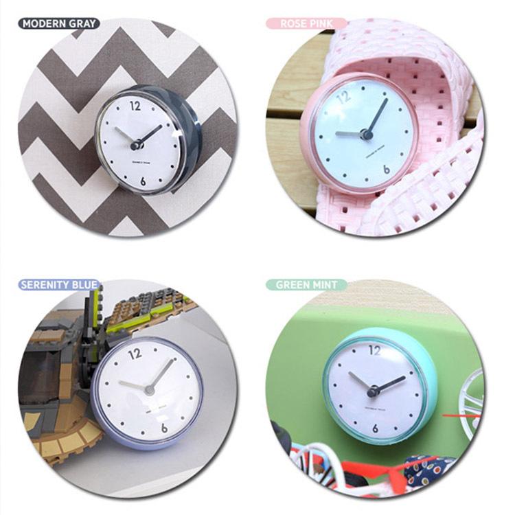 Honana BC-730 Bathroom Wall Clock Waterproof Suction Cups Clock Home Kitchen Refrigerator Decor