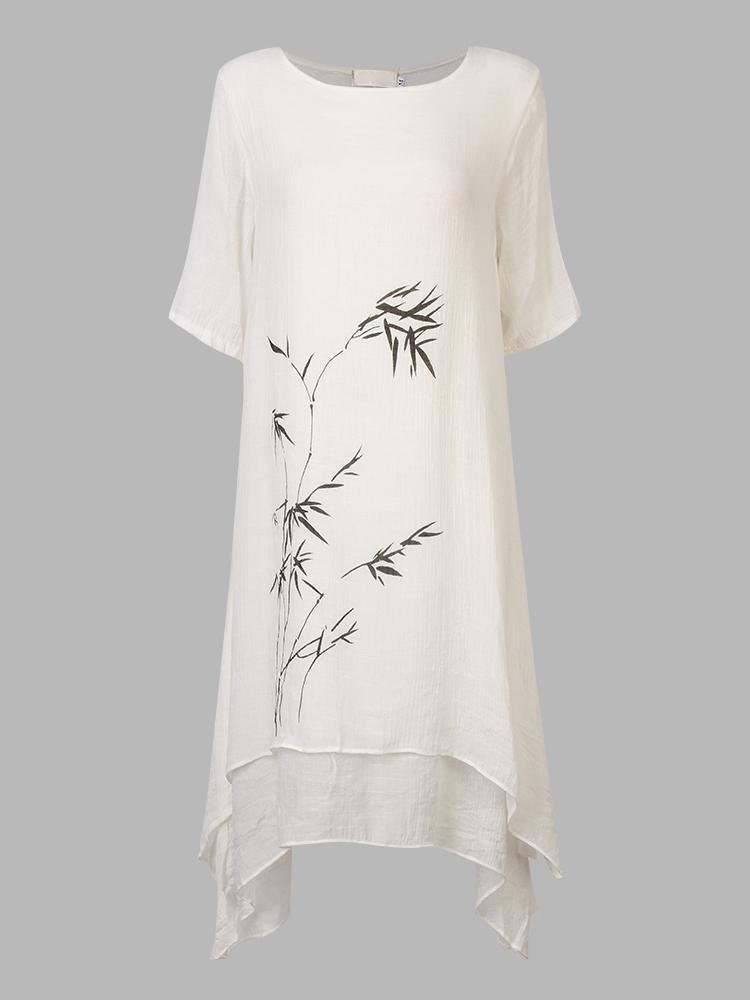 Casual Women Vintage Ink Printing Short Sleeve Loose Dress