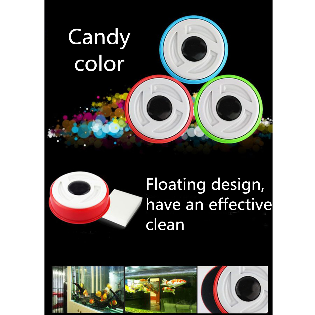 Magnetic Aquarium Cleaning Brush Fish Tank Algae Glass Cleaner Floating Scrapers Magnetic Brush