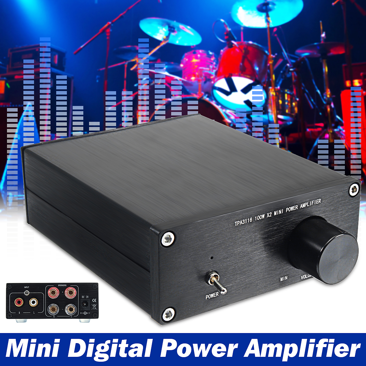 100Wx2 TPA3116D2 2 Channel HiFi Stereo Subwoofer Mini Digital Power Amplifier