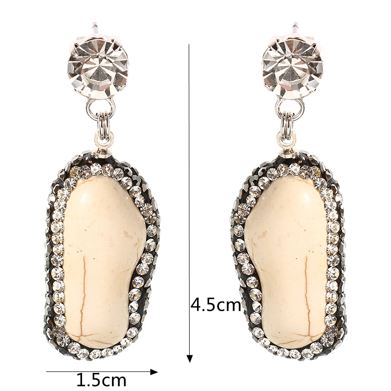 JASSY® Women Earrings Platinum Plated Anallergic Ivory White Crack Stone Pendant Gemstone Ear Stud