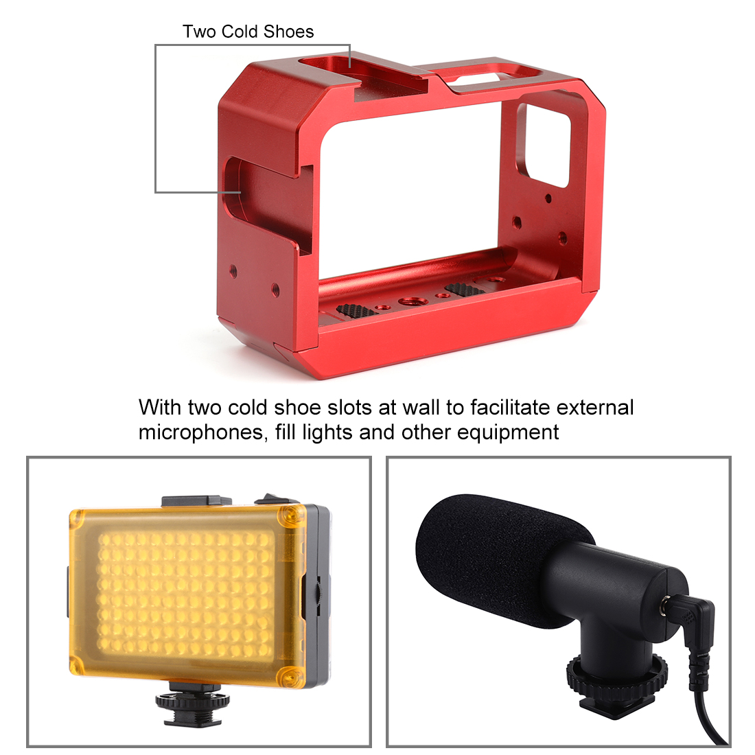 PULUZ Aluminum Alloy Adapter Protective Shell Frame Cage with Cold Shoe Mouth for Insta 360 One R Camera