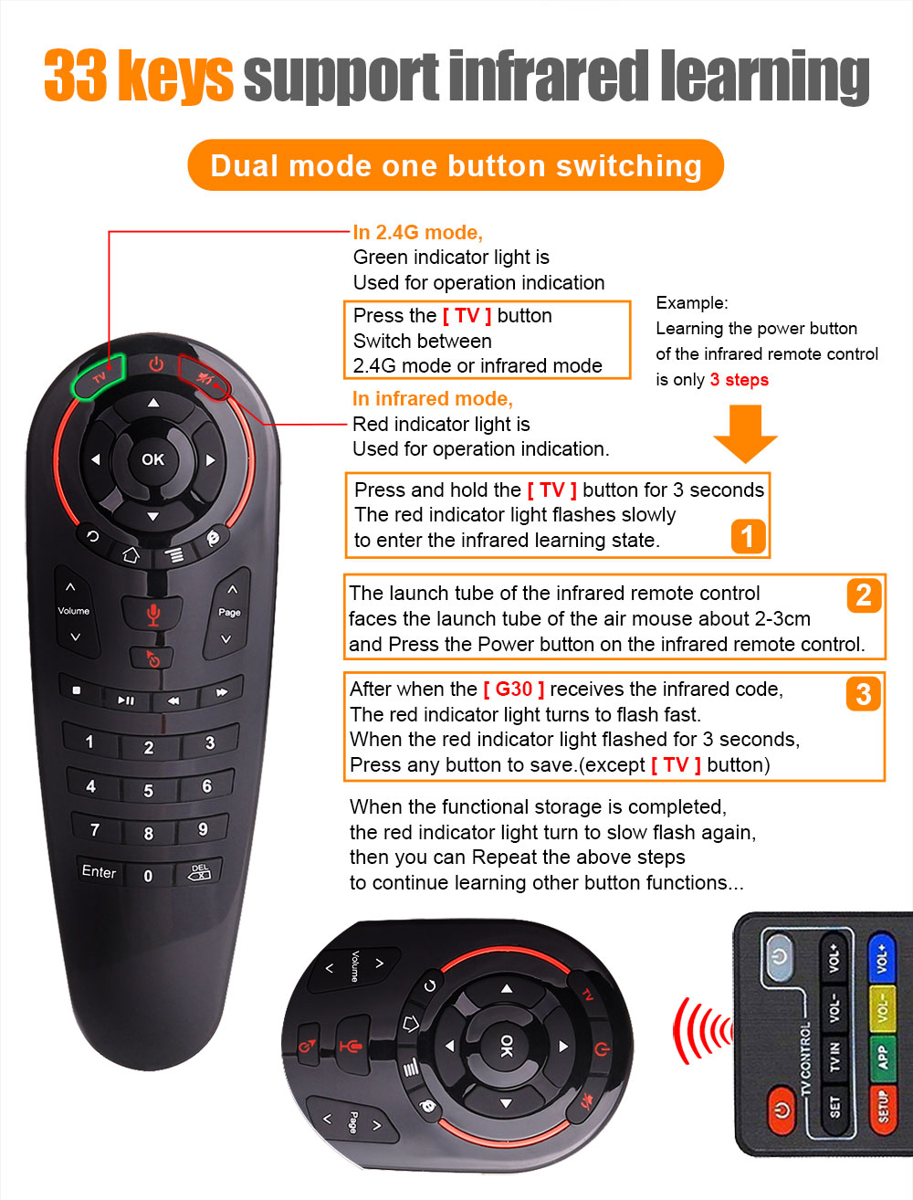 G3033IR 32Key 2.4GHz Gyroscope Remote Control Voice Air Mouse