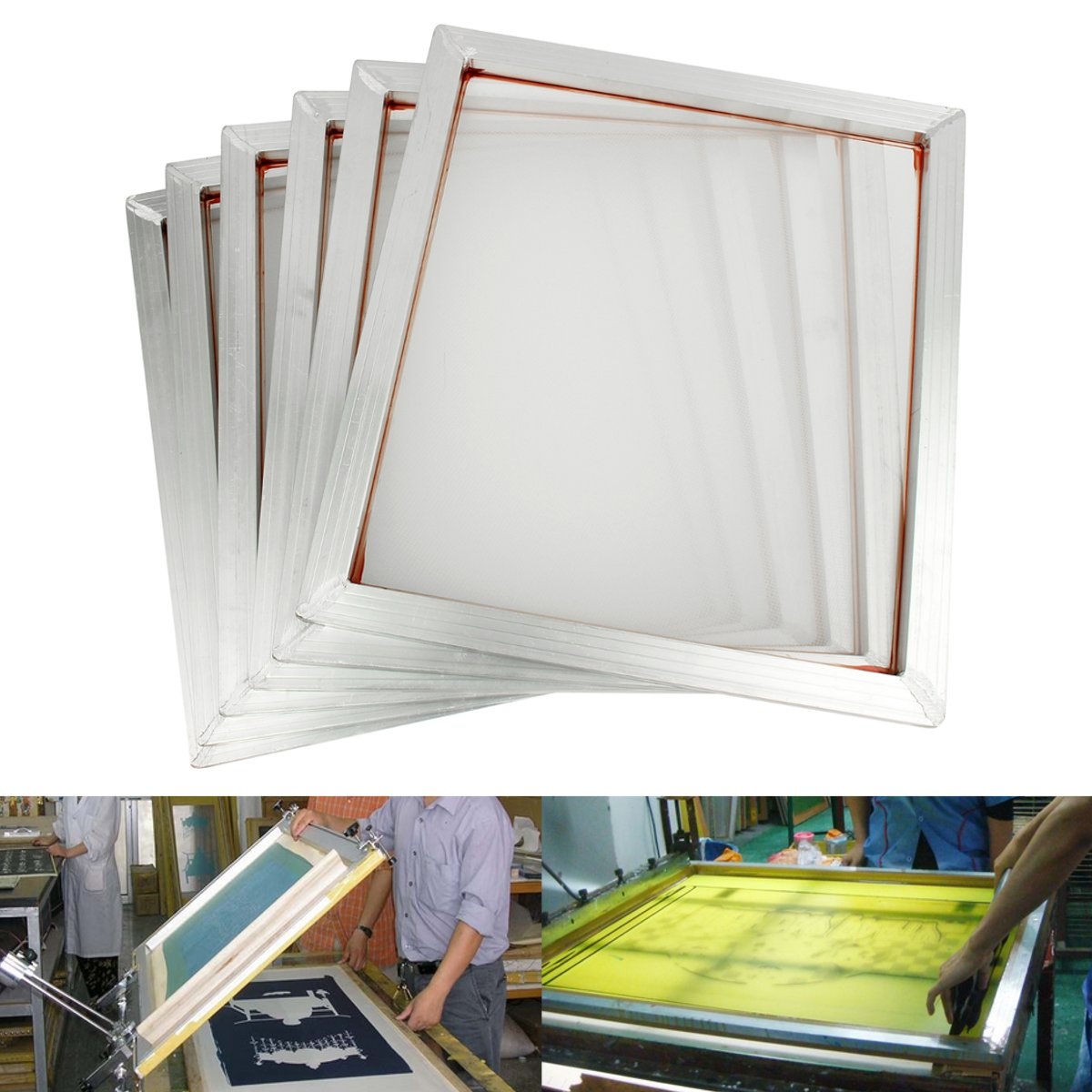 6Pcs 18''x 20'' Aluminum Silk Screen Printing Press Frame 110 White Mesh Count