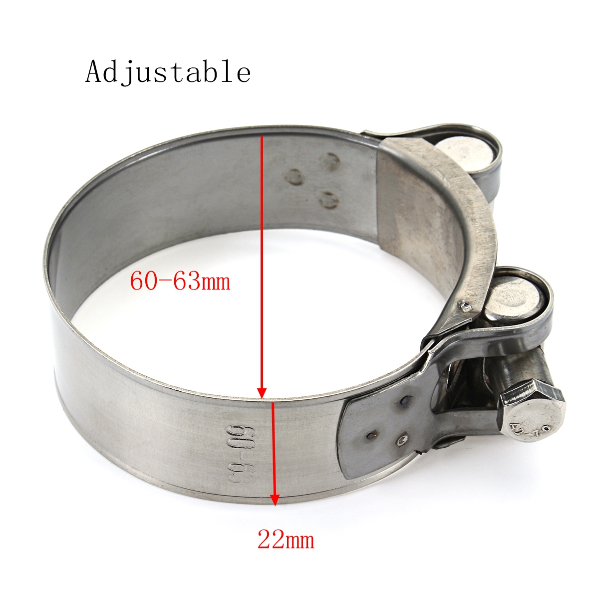 Universal 36mm 48mm 60mm Genuine Stainless Steel Band Exhaust Clamp Kit Fit Motorcycle Muffler Sile