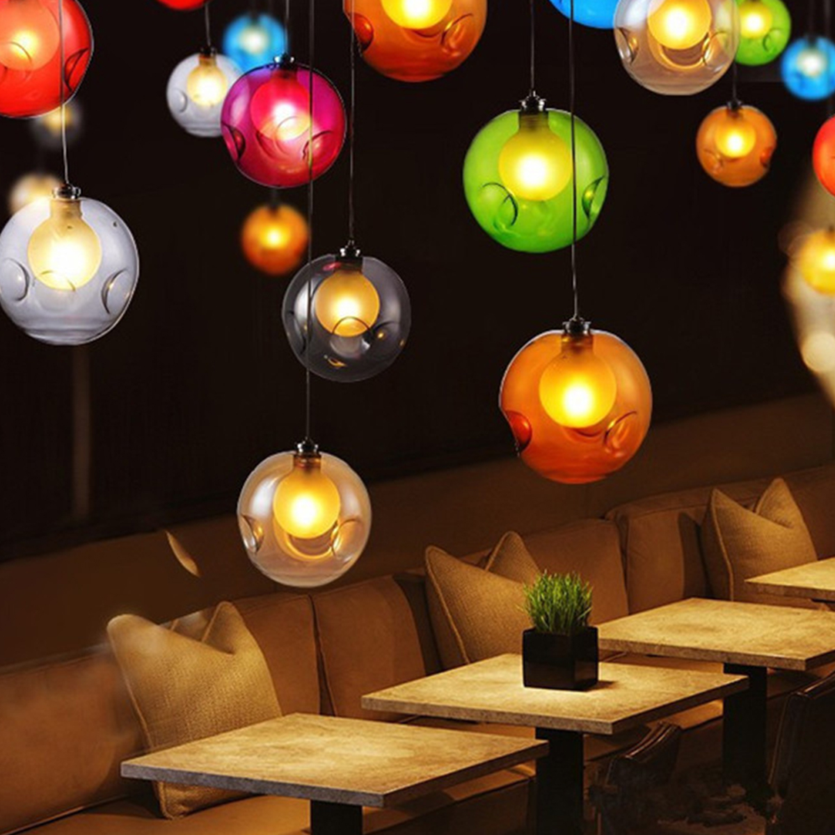 Modern LED Colorful Glass Bubbles Pendant Light Chandelier Ceiling Lamp Lighting