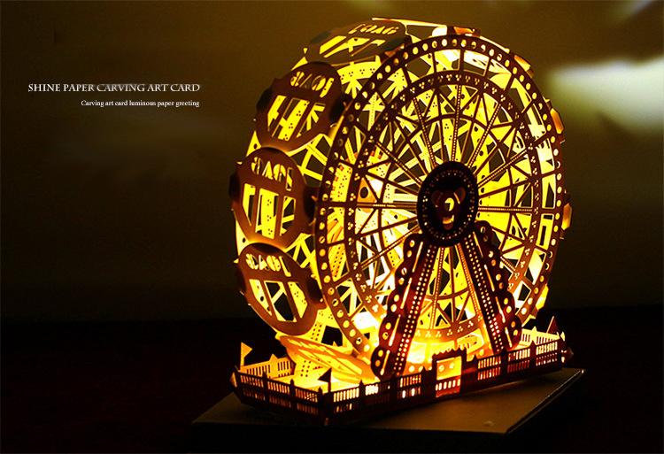 Christmas 2017 Honana HT-875 LED Light Model DIY Ferris Wheel Greeting Card Christmas Brithday Gift Festival Blessing Card