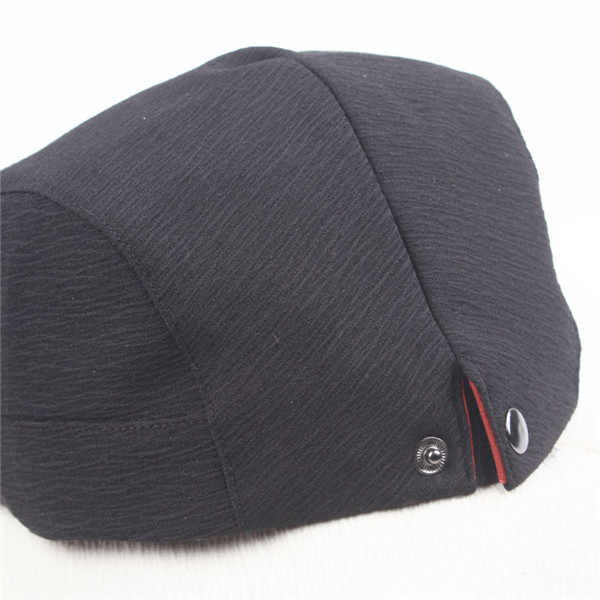 Men Washed Adjustable Solid Color Beret Hat