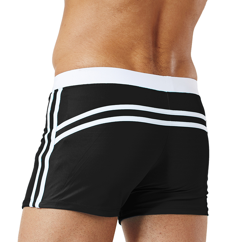 Drawstring Pure Color Quick Dry Elastic Boxers Swim Trunks