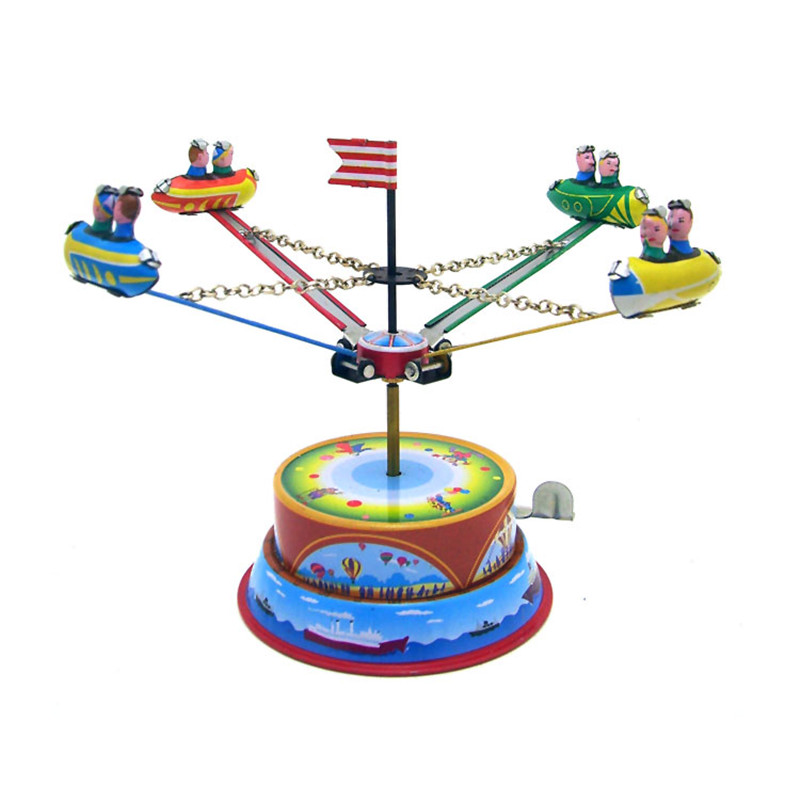 Classic Vintage Clockwork Amusement Park Nostalgic Wind Up Children Kids Tin Toys With Key
