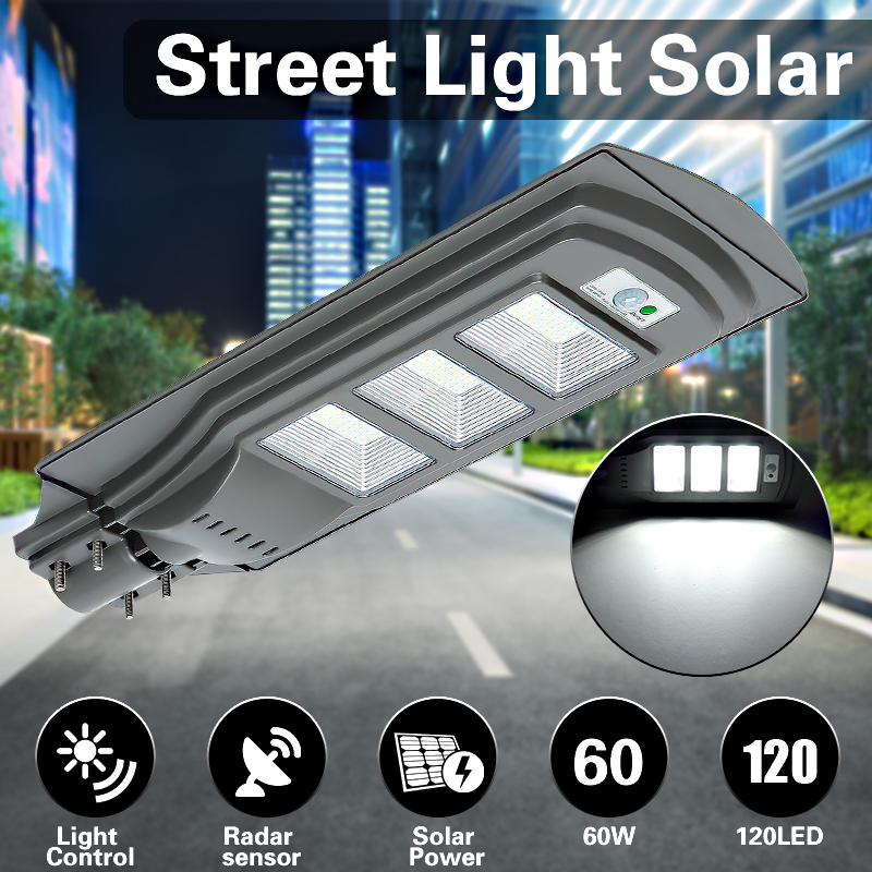 60W 120 LED Solar Radar Motion Activated Sensor Wall Street Light for Outdoor
