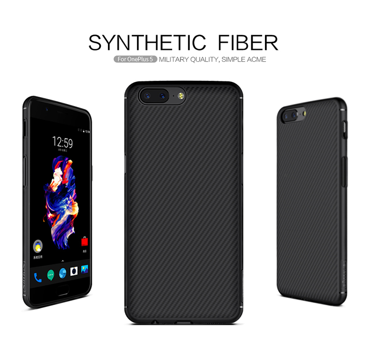 NILLKIN Built Iron Sheet With Magnetic Function Schockproof Synthetic Fiber PC Case For OnePLus 5