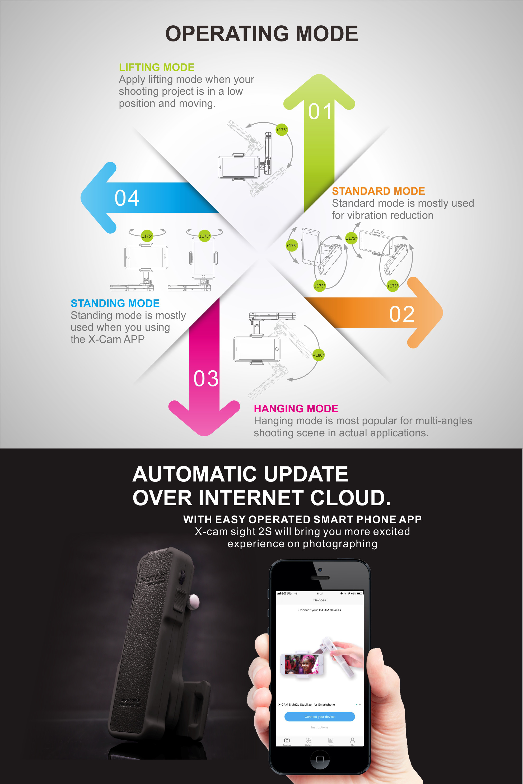 X-Cam SIGHT 2S bluetooth4.0 Stabilizer Self Timer Brushless Handheld Gimbal For iphone Xiaomi Huawei