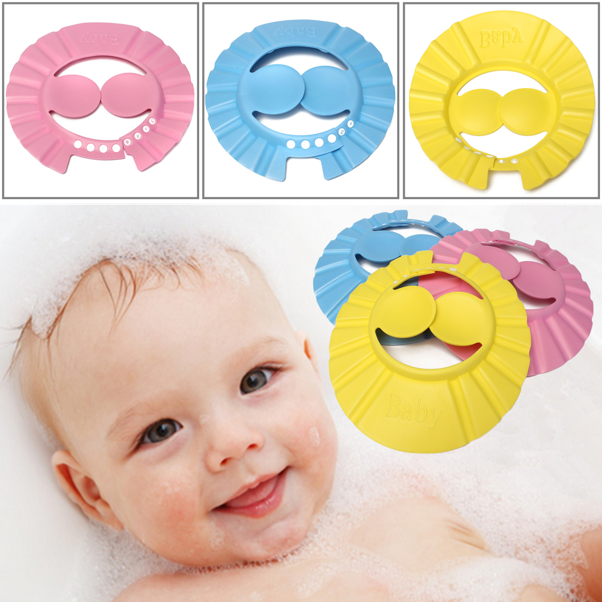 Soft Adjustable Baby Shower Cap Protect Children Kid Shampoo Bath Wash Hair Shield Hat Waterproof Prevent Water Into Ear