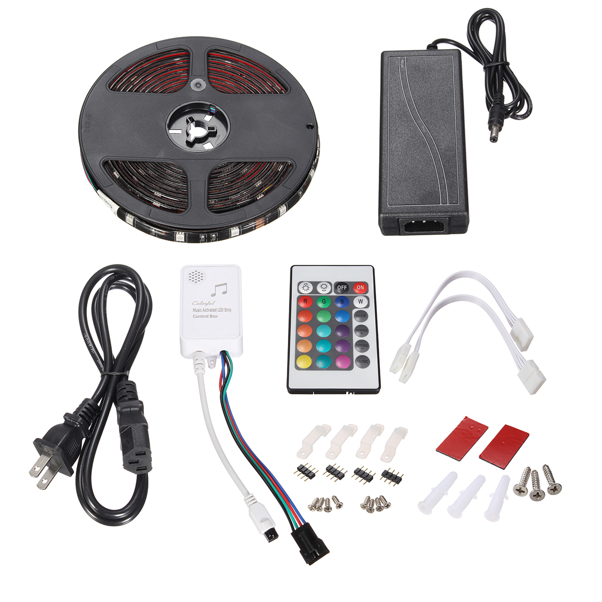 5M SMD5050 150LEDs Waterproof RGB Strip Light+5A Power Supply with 24keys Remote Control DC12V