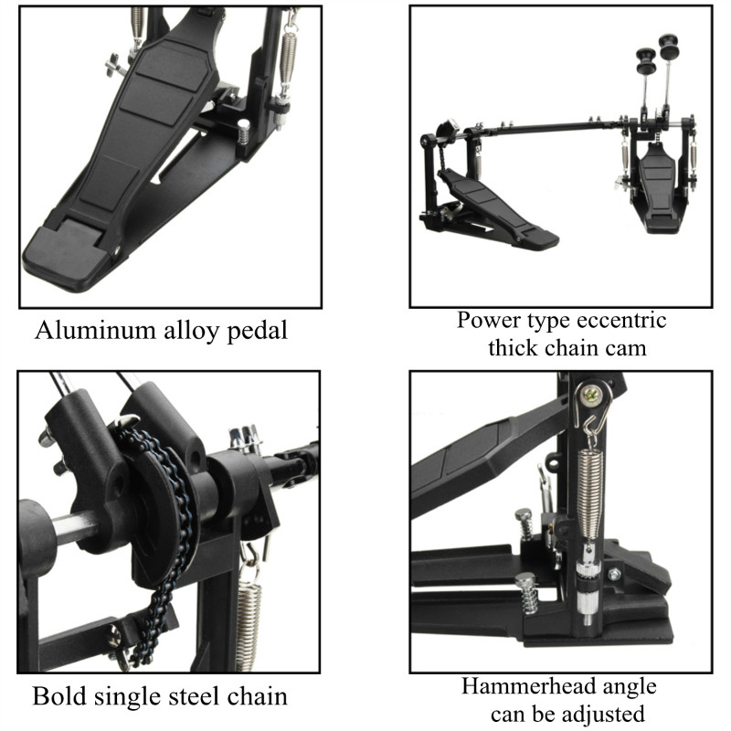 Drum Pedal Double Bass Dual Foot Kick Pedal Percussion Set Single Chain Drive