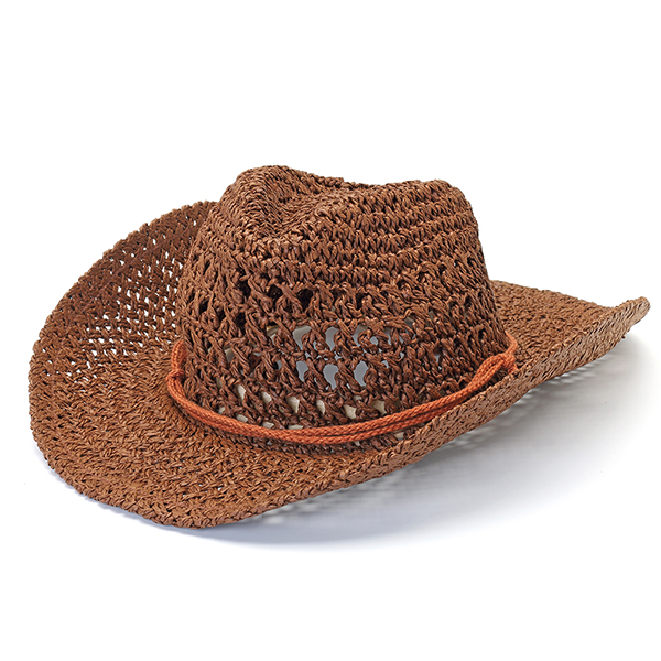 Straw Hollow Out Cowboy Hat Breathable Wide Brim Jazz Cap