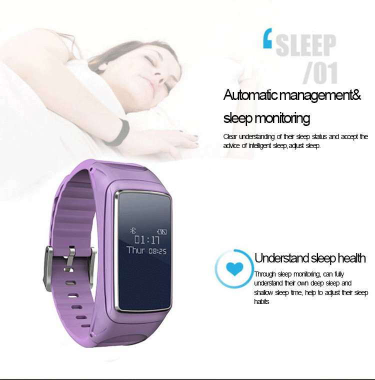 B7 bluetooth Earphone Heart Rate Sleep Monitor Music Plays Fitness Tracker Smart Watch Band