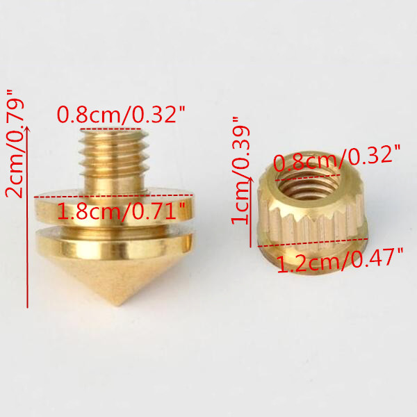 8pcs HIFI M8 Copper Speaker Suspension Spikes Isolation Stands Feet Pads Base
