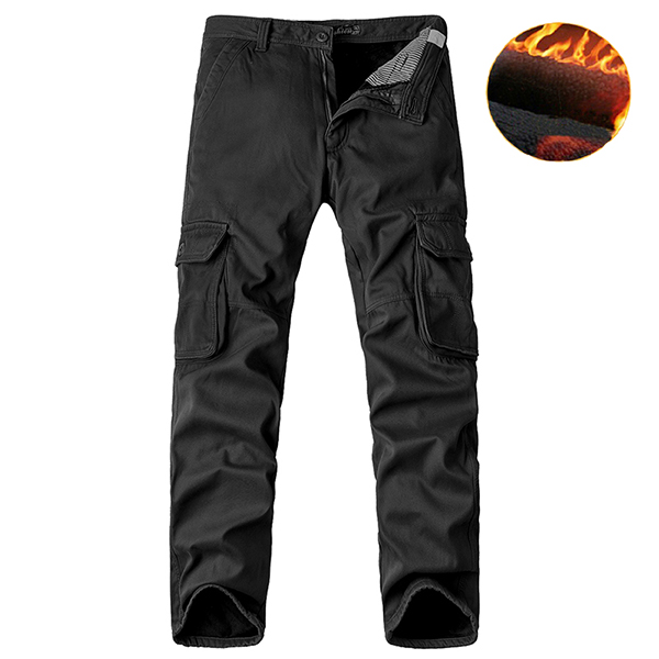 Big Size Thick Fleece Cargo Pants Winter Mens Casual Cotton Trousers Pants