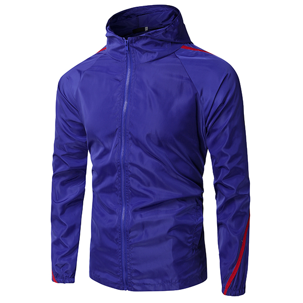 Spring Fall Slim Fit Thin Patchwork Hooded Sports Sun Protective Jacket for Men
